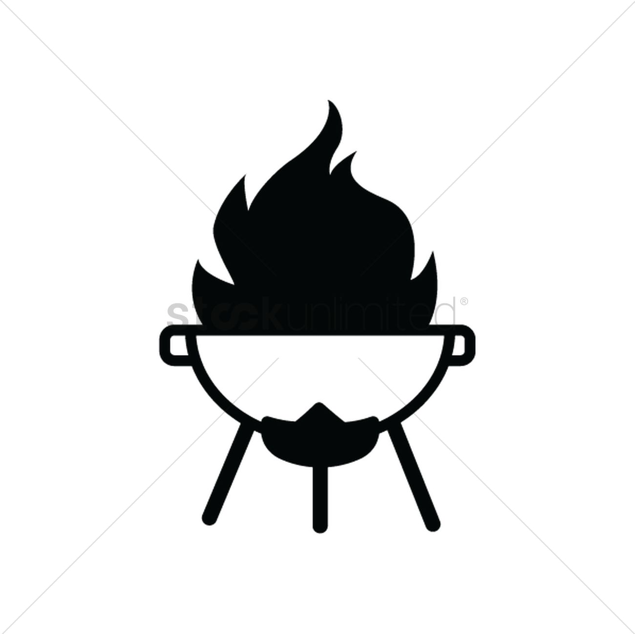 Barbeque pit on fire silhouette Vector Image.