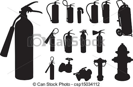 Vector Clip Art of Fire extinguisher silhouette.