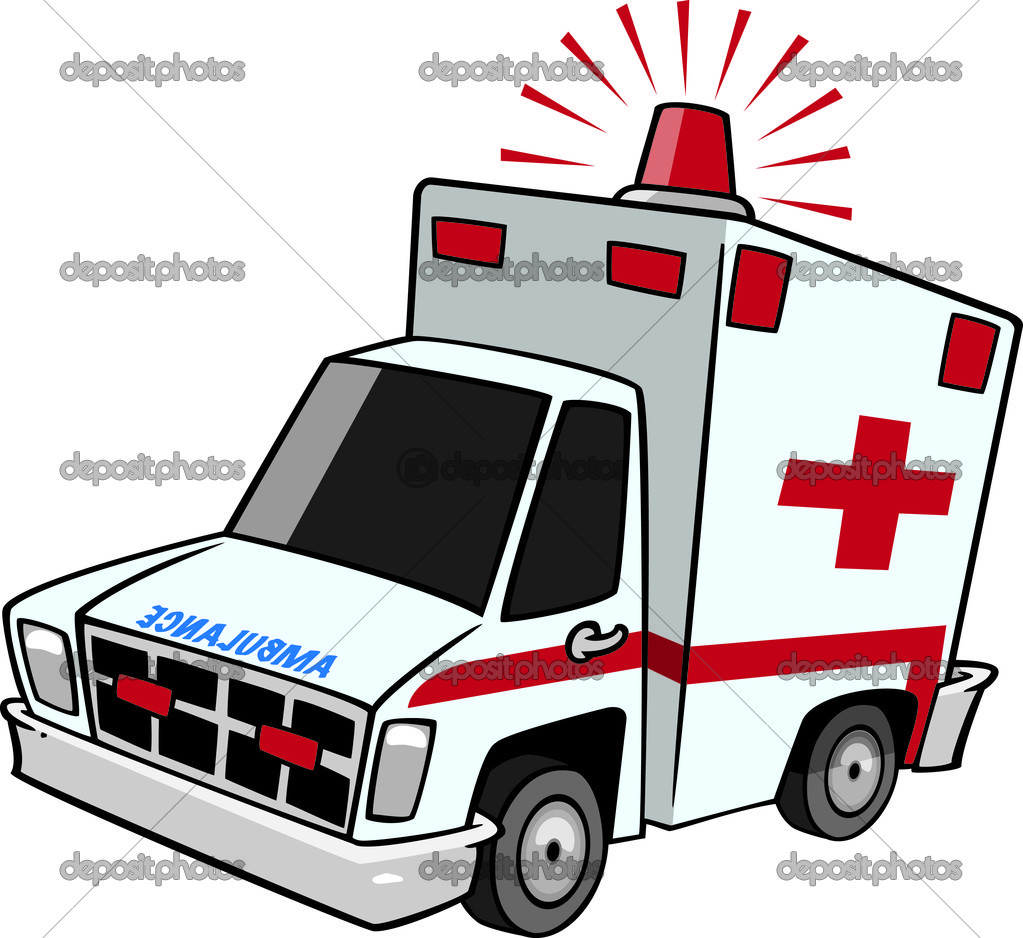 Illustration of an emergency ambulance with lit siren light, on a.