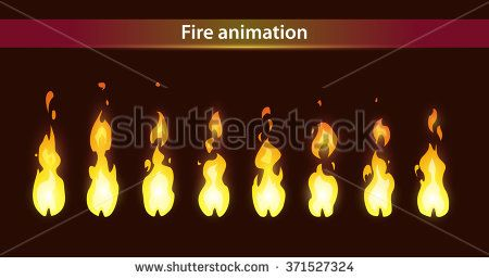 Fire animation sprites, vector flame video frames for game.