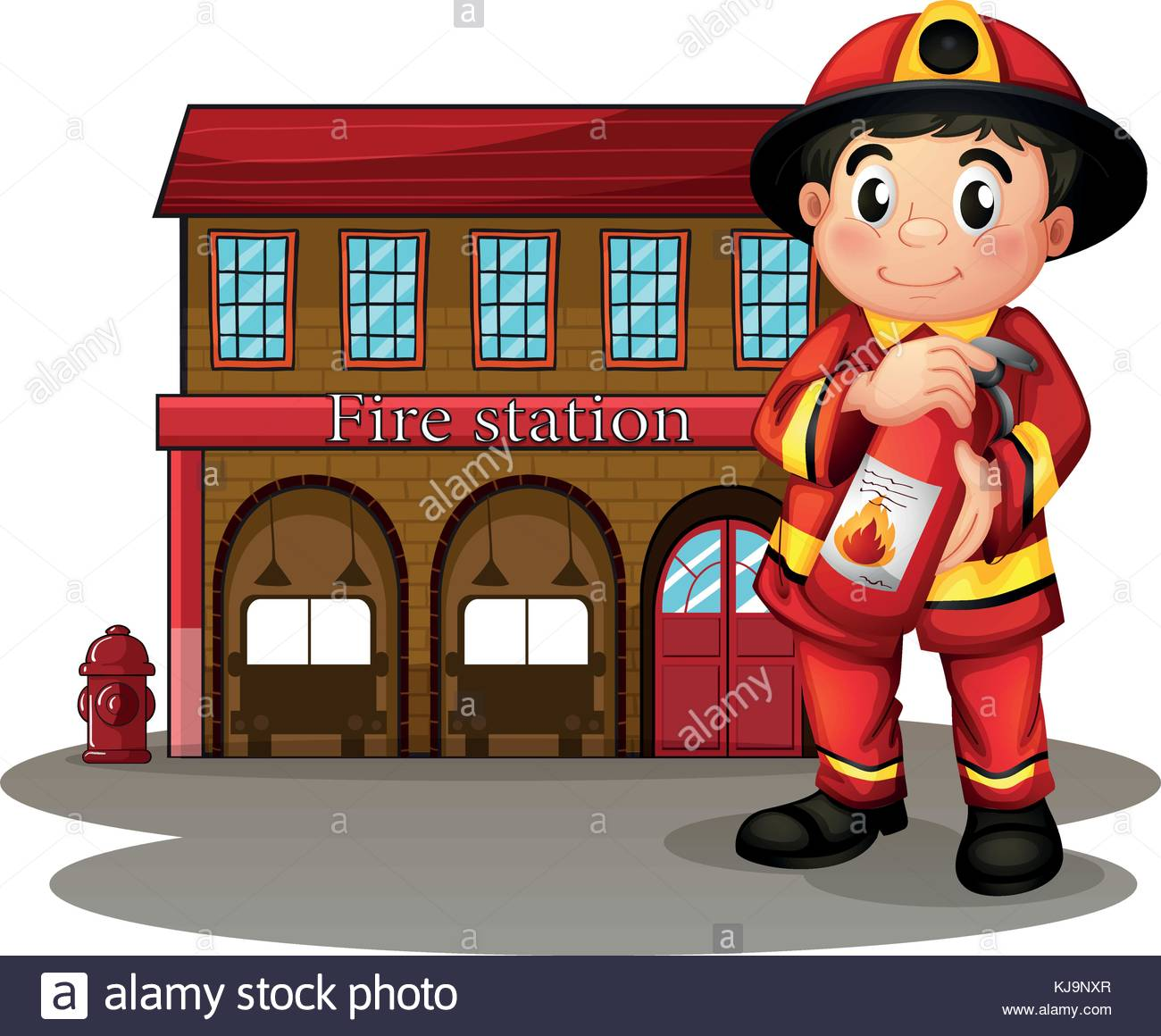 Illustration of a fireman in front of a fire station holding a fire.