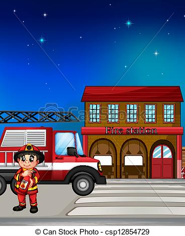 Clip Art Vector of Fireman and fire station illustration.