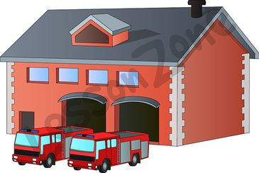 Fire station clip art black and white.