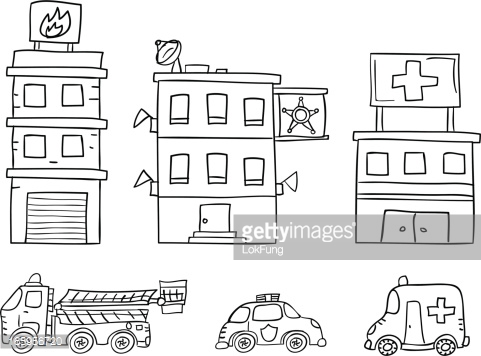 fire station clipart black and white - Clipground