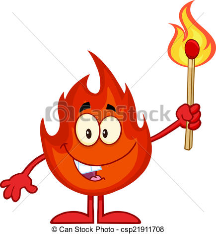 Vector Clipart of Fire Holding A Flaming Match Stick.