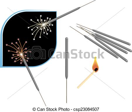 Vector Clipart of Fire Works Sparkle, Match Stick Vector Art.