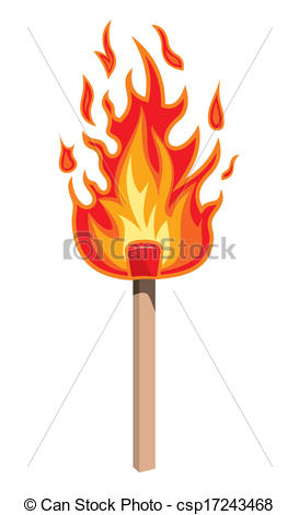Clip Art Vector of Burning match stick on a white background.