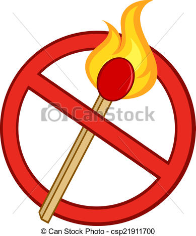 Vector Clipart of Stop Fire Sign With Match Stick.