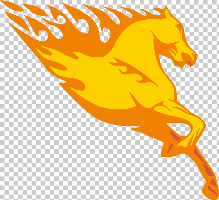 Horse Fire Sticker , Dragon Horse material PNG clipart.