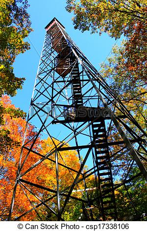 Stock Photography of Fall Color Fire Tower.