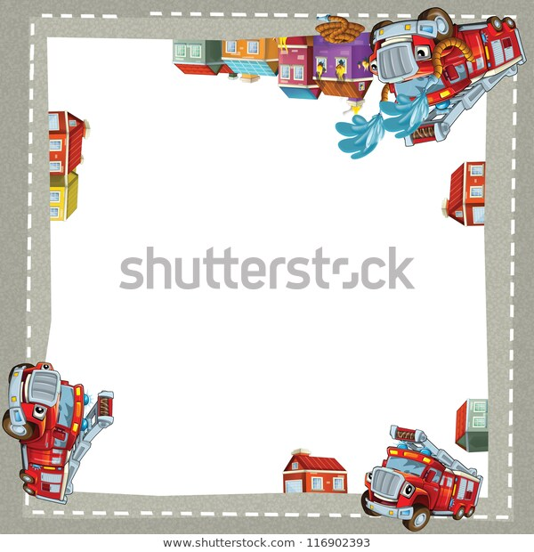 Fire Truck City Border Illustration Children Stock Illustration.