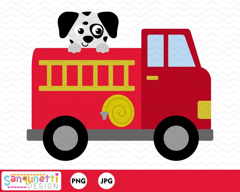 Fire Truck clipart with dalmatian, transportation digital art instant  download.