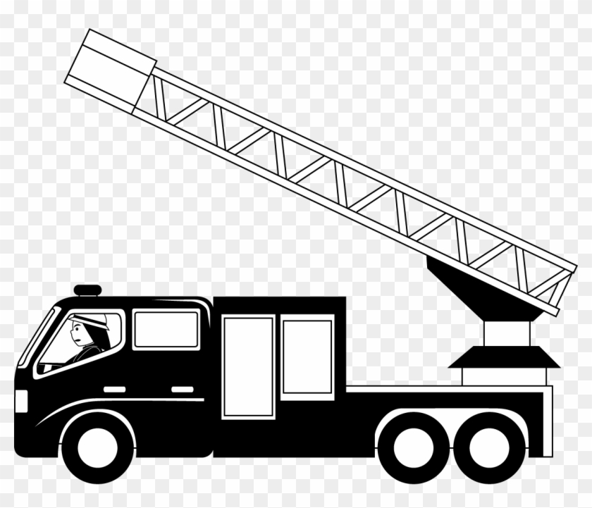 Banner Fire Truck Clipart Black And White.