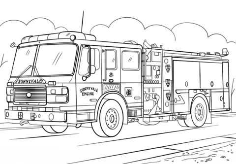 Fire Truck coloring page.