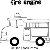 fire truck ladder clipart black and white.