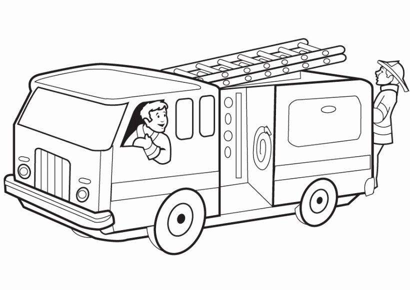 Fire truck coloring page Elegant Fire Truck clipart black.