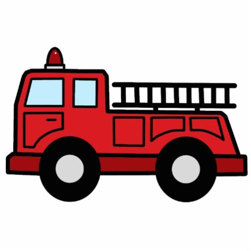 Cartoon Clip Art Firetruck Emergency Vehicle Truck Standing.