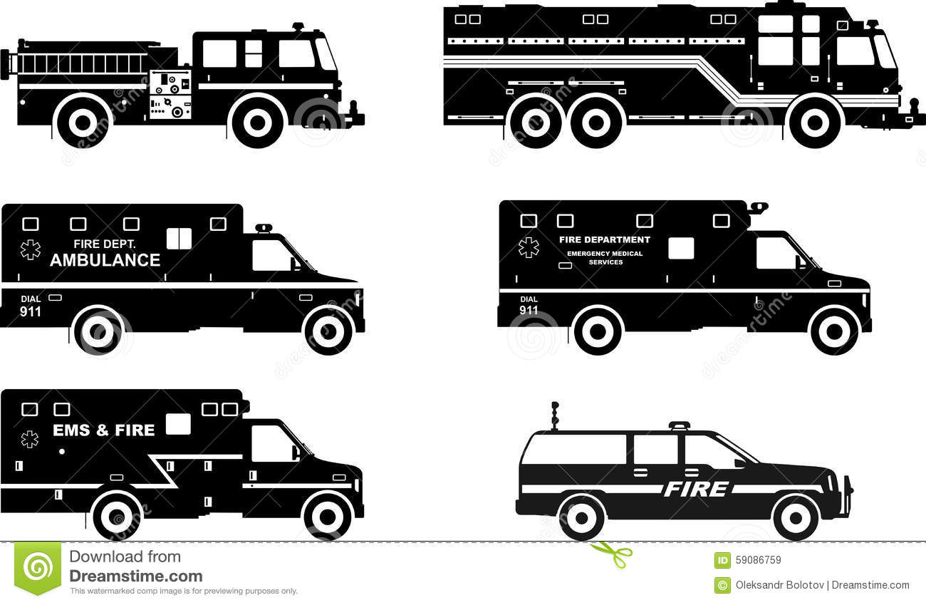 Fire Truck Silhouette Vector Free.
