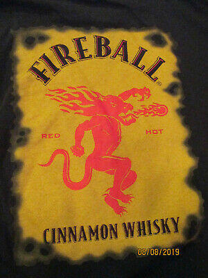 FIREBALL CINNAMON WHISKEY Logo T Shirt Black Label Graphic.