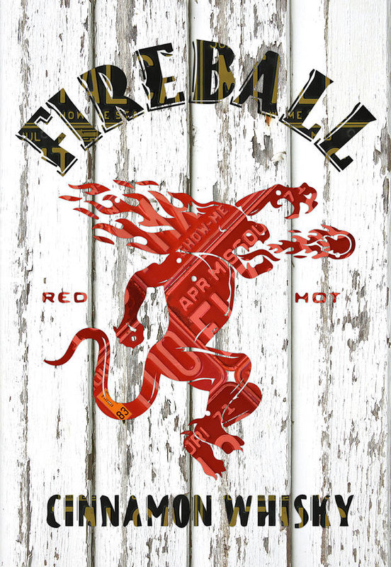 Sazerac Fireball Whisky Dragon Logo Missouri License Plate Art Art Print.