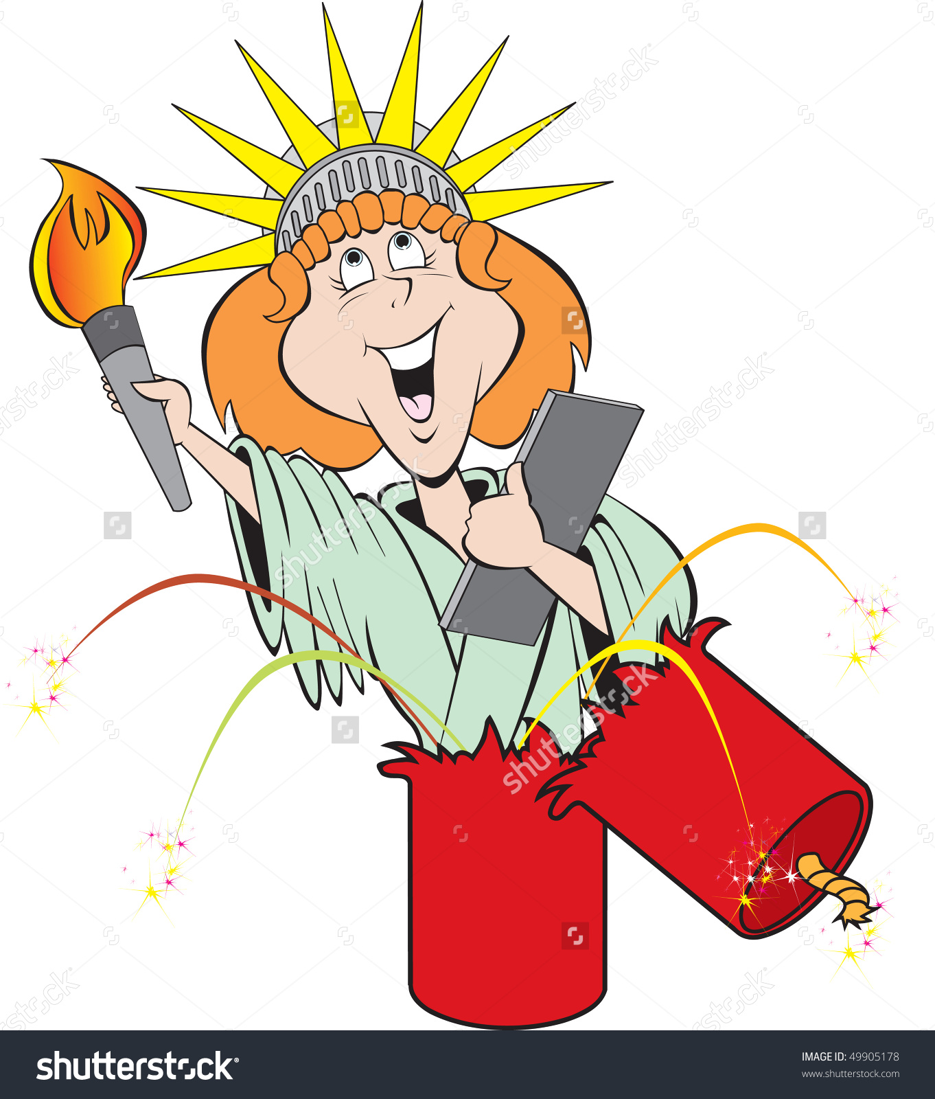 Cartoon Art Of Lady Liberty Coming Out Of A Large Exploding.