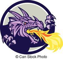 Vector Clipart of Dragon Head Fire Crest Retro.