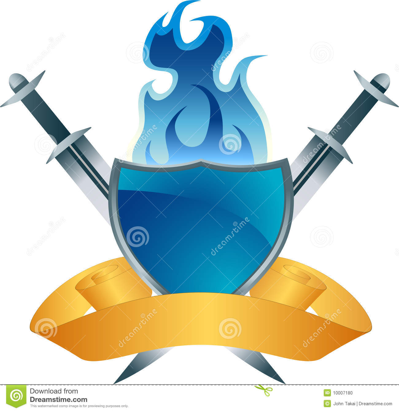 Blue Shield Fire Crest Stock Photo.