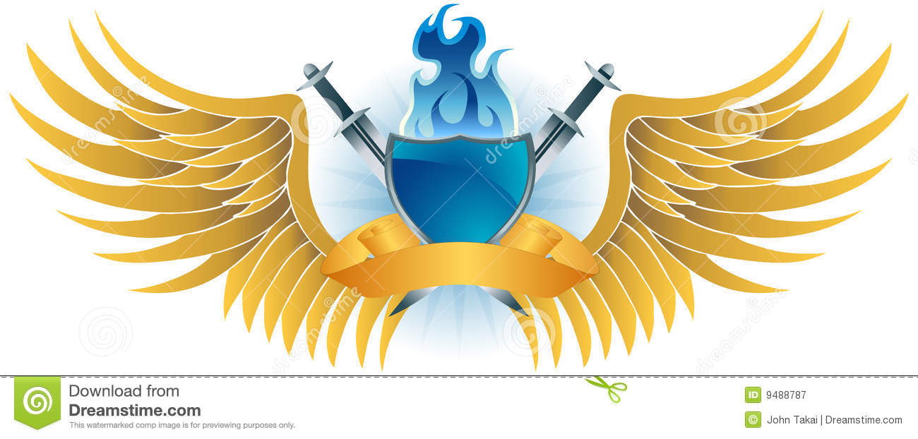 Winged Fire Crest Royalty Free Stock Photography.