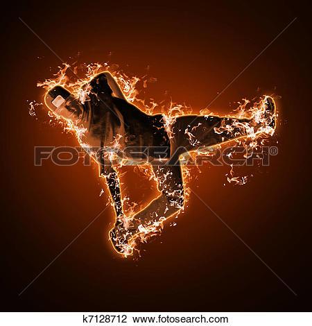 Clip Art of Fire dancer against black background k7128712.