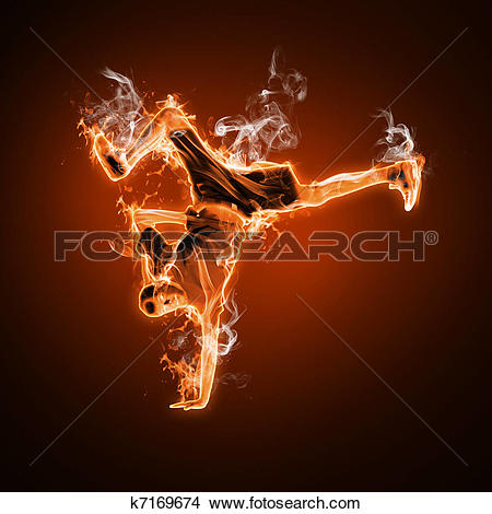 Drawings of Fire dancer against black background k7169674.