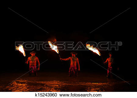 Stock Photography of Fire Dancer Pose in Water. k15243960.