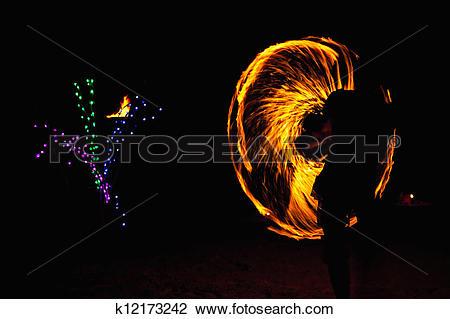 Stock Photo of Fire Dancer k12173242.