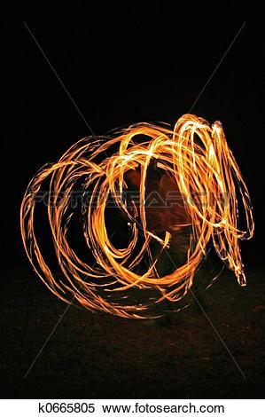 Stock Image of Fire dancer 3 k0665805.