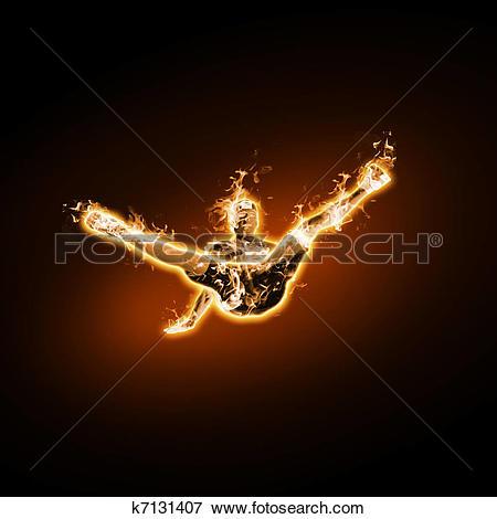 Stock Illustration of Fire dancer against black background.