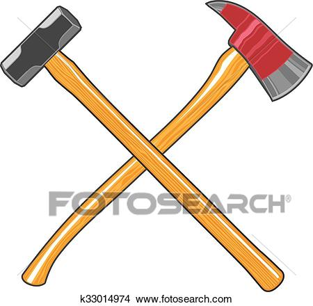 Firefighter Ax and Sledge Hammer Clipart.