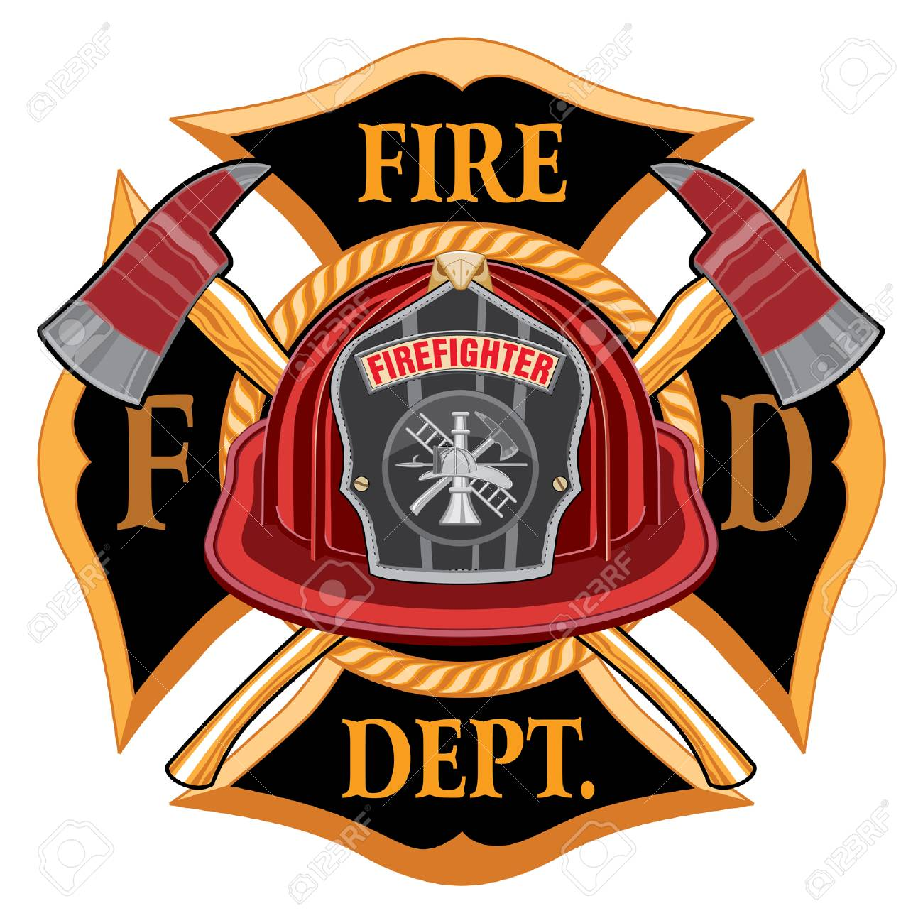 Fire Department Cross Vintage Emblem Concept Illustration..