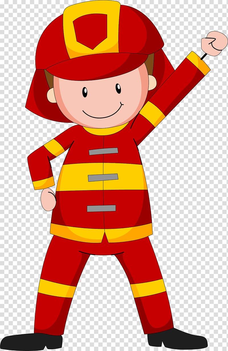 Fireman illustration, Cartoon fireman transparent background.