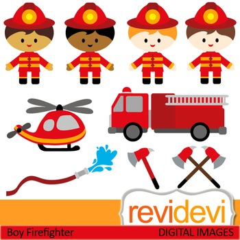 Firefighter clip art (kids, boys) clipart.