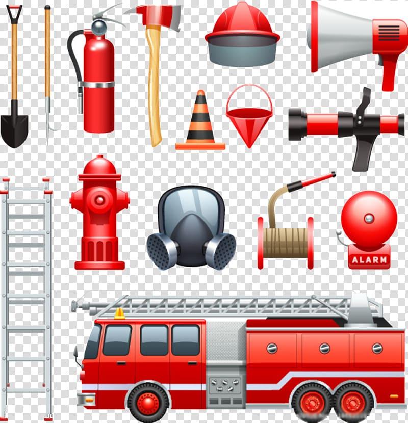 Firetruck and fireman\'s equipment art, Firefighter.