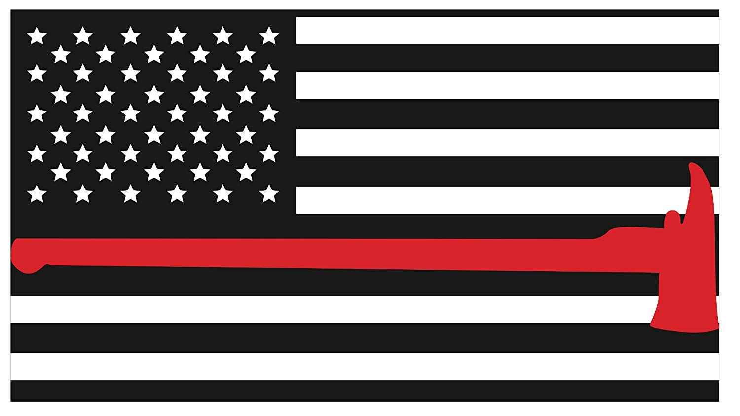 K9King Fire Department Red Line Axe Flags 3M Vinyl Reflective Decal, Black,  White & Red Flag Sticker Honoring The Courage of Our Firefighters, EMT &.