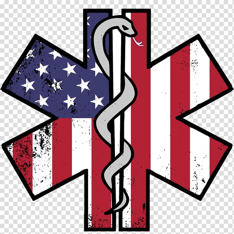 Flag of the United States Star of Life Firefighter Decal.