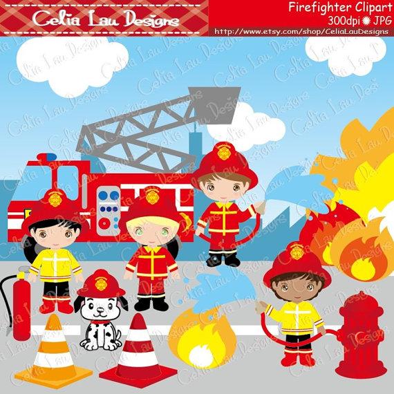 Cute Firefighter Clipart Fireman clip art CG035.