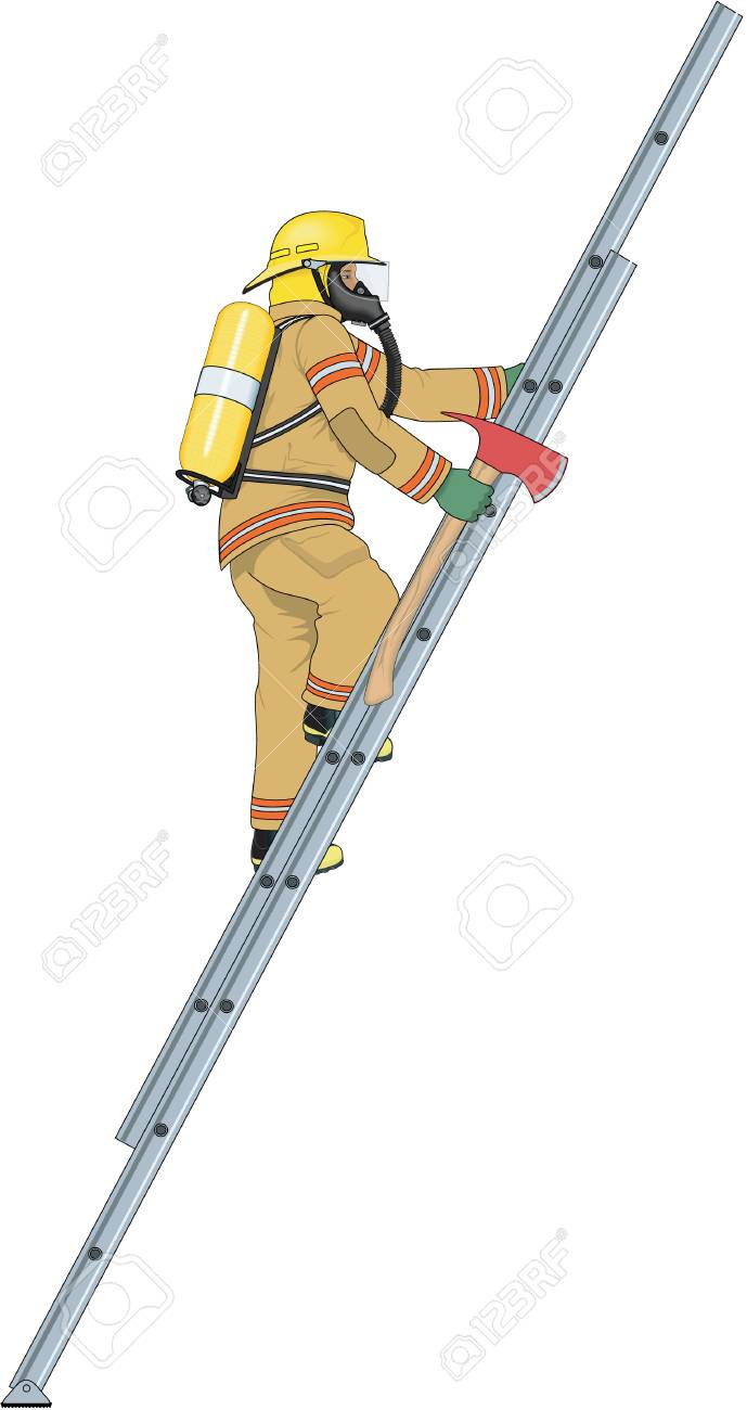 Firefighter Climbing Ladder Illustration.