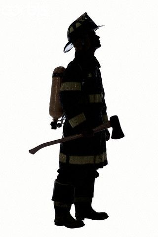 Silhouette of Fireman.