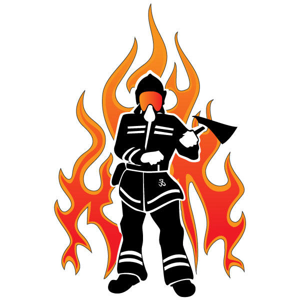 Firefighter Silhouette Vector Clipart Free