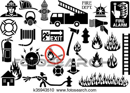 Firefighter icons and symbols Clipart.