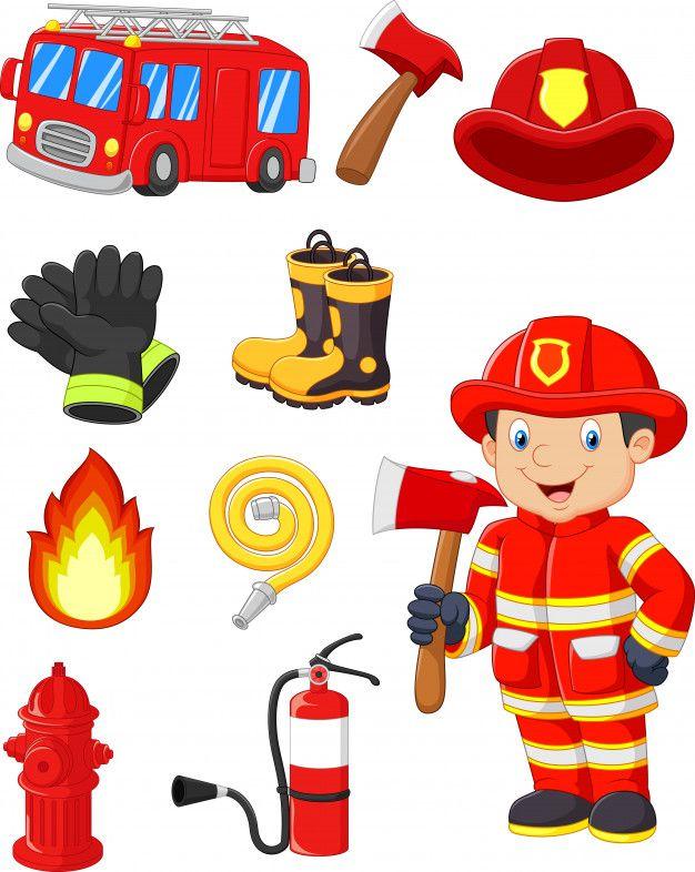 Cartoon collection of fire equipment Premium Vector.