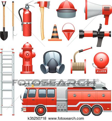 Firefighter Equipment And Machinery Icons Set Clip Art.