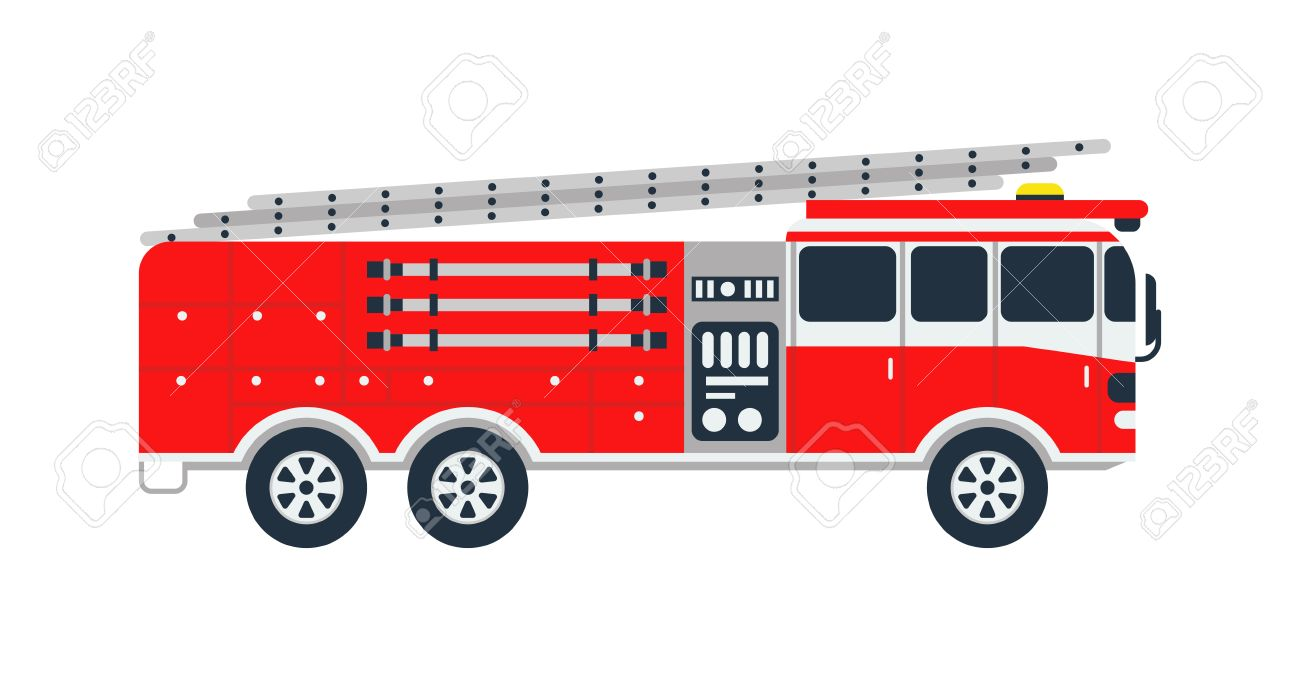Fire truck rescue engine transportation and vector transport...