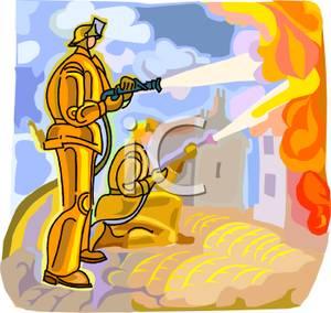 Firemen At Work Clipart.
